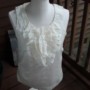 J Crew flower detail off white top size 6